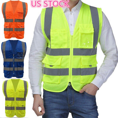 USHigh Safety Security Visibility Reflective Vest Construction Traffic Work Wear