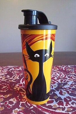 Tupperware NEW  Halloween Black CAT Pumpkin Jack O Lantern 16 oz 470 ML TUMBLER