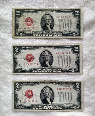 Three - 3 1928 OLD US Currency $2.00 Red Seal Small Notes