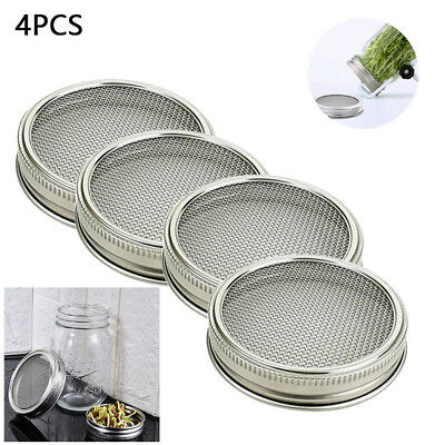 2/4Pcs Stainless Steel Strainer Sprouting Lid For Mason Canning Jars Wide Mouth