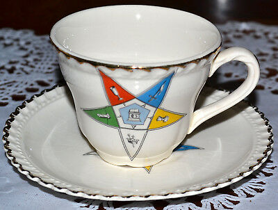 VINTAGE EOS Masonic Order Of The Eastern Star Demitasse Tea Cup & Saucer