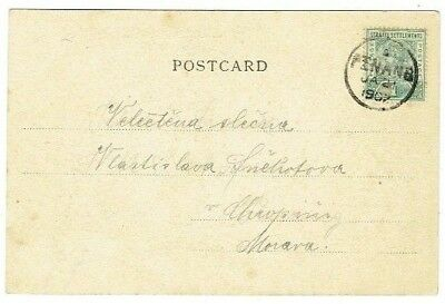 Straits Settlments Stamp & Penang Postmark On Postcard Postal History Used 1902
