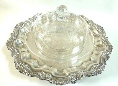 """Antique French Baccarat Crystal Cheese Bell Dish/ Dome With Platter Mono """"bc"""""""