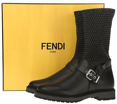 bcfeaf18 New Fendi Roma Black Wave Stretch Leather Buckled Current Boots Shoes 38