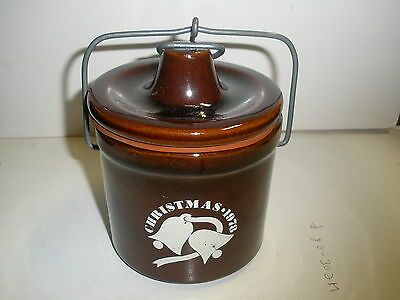 """Vintage Cheese Crock Lid Pottery Christmas 1978 Stoneware 5 1/2"""" Rubber Brown"""