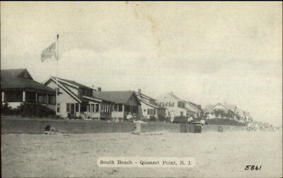 Quonset Point RI South Beach Homes Old Postcard