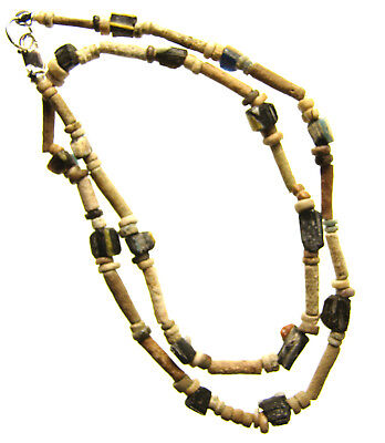 Egyptian Mummy Bead & Roman Glass 16-inch Necklace Restrung,circa 600-5th cen AD