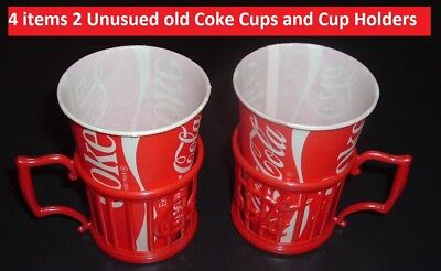 Two Old Coca Cola Soda Fountain Coke Cup Diner Holders & 2 Wax 60s Coke Cups