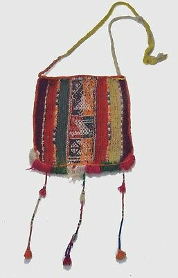Ornate Antique Chuspas Coca gathering woven pouch from Bolivia