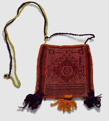 Charming Antique Chuspas Coca gathering woven pouch from Bolivia