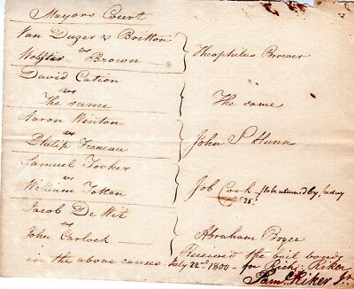 1799, Richard Riker, New York District Attorney, shot in a duel, signed grouping