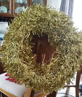 18 inch Large Gold Tinsel Wreath with plastic frame for DIY Holiday Decorations