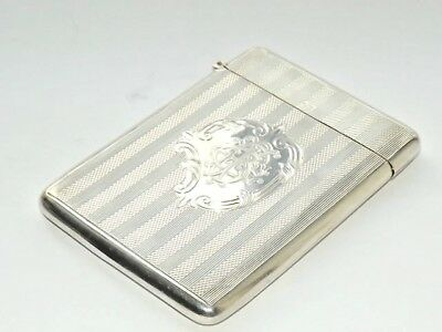Antique Victorian William Hayes Solid Silver Sterling Card Case - B/ham 1900