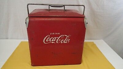 1950s Large Metal Coca Cola Coke Picnic Camping Cooler by Acton w/Opener & Tray