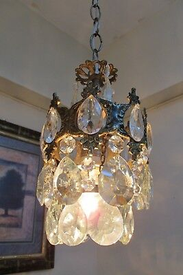 Antique Vnt.Small French Basket Style Crystal Chandelier Lamp Light 1940's.6 in