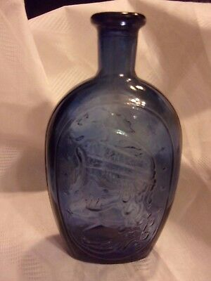 Vintage Pressed Glass Reproduction Glass bottle Lady LIberty Eagle Blue LOTL
