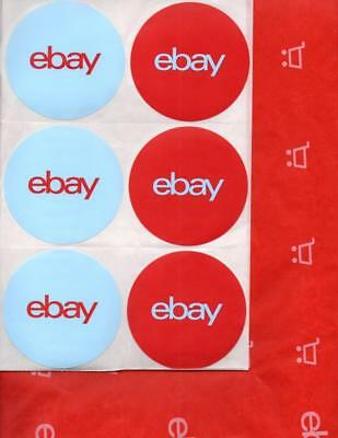 5393* EBAY Branded Shipping Supplies ~ 24 Sheets RED TISSUE PAPER & 12 STICKERS