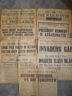 Lot of 10 WWII Newspapers VE Day Victory Ernie Pyle Patton Japan Germany JFK