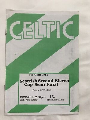 1985 Queens Pk v Celtic Scottish Reserve League  Youth Cup Semi Final  Programme