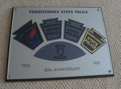 Pennsylvania State Police Patches 1920,1930, 1937, 1943, 1959 Framed