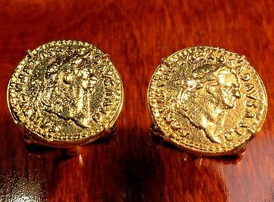 Ancient Roman Rome Emperor Claudius Gold Plated Coin Cufflinks + Gift Box