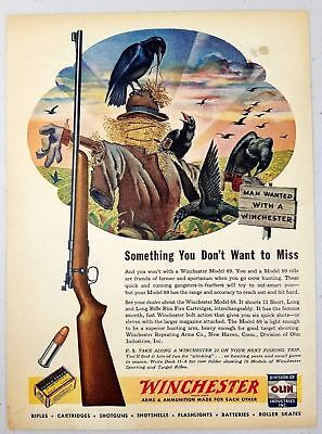 1947 Print Ad Winchester Model 69 Bolt Action 22 Rifles Crows & Scarecrow