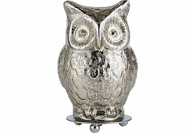 Argos Home Silva Glass Owl Table Lamp - Silver