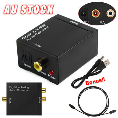 Digital Optical Coax Coaxial Toslink to Analog Cable Adapter RCA Audio Converter