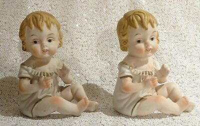 Gorgeous Pair of Antique Art Deco Bisque Piano Dolls