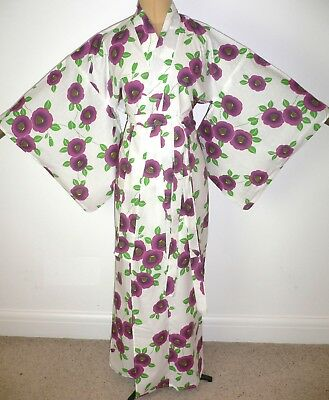 FAB SMALL VINTAGE JAPANESE YUKATA COTTON KIMONO ROBE DRESSING GOWN +belt
