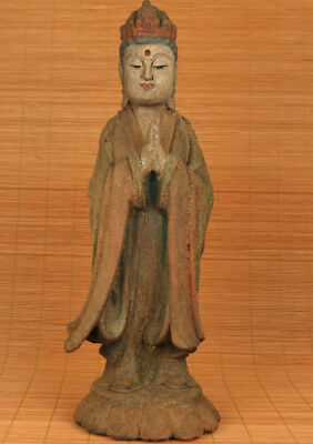 ancient Big Rare Chinese Old Handmade Carved Stand Buddha Wood Statue Figure