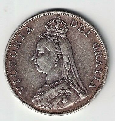 Great Britain 1889 Double Florin Queen Victoria Sterling Silver Coin