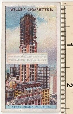 Early 1900 Steel Frame Construction Skyscraper Construction 1915  Ad Trade Card