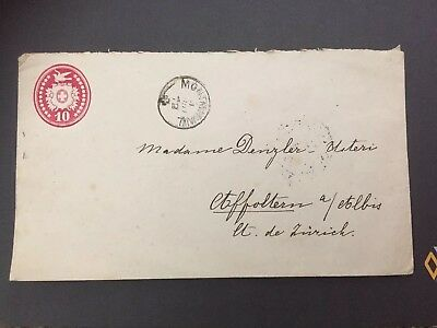 switzerland stationary 10 ct Cover 1872           4 x stampelt