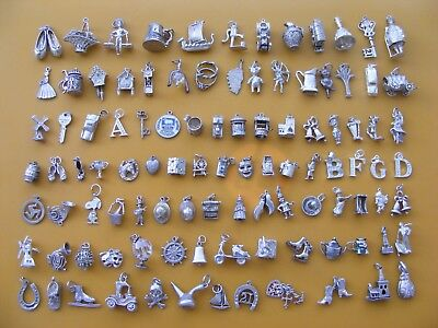 Y Vintage Sterling Silver Charm Charms Ship Bell Clock Teddy Car Boot  Mask Horn