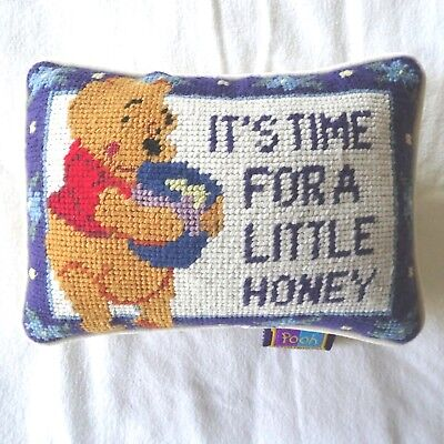 Disney Pooh Needlepoint Small Pillow  9 x 6.5 inches 100 Acre Collection Honey