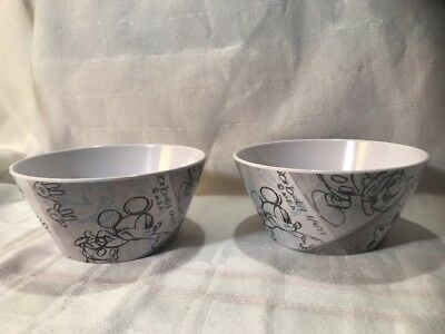 TWO (2) ZAK! DESIGNS Disney MICKEY MOUSE sketch art melamine cereal salad bowls