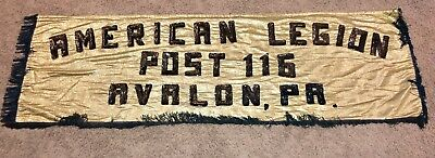 Vintage Avalon PA Post #116 American Legion Marching Parade Banner Flag