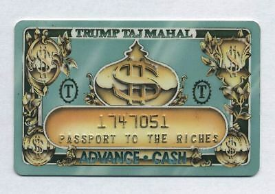 TRUMP TAJ MAHAL Atlantic City 1990's Casino Advance Cash Card CG004063 Scarce