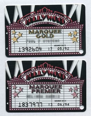 Two SANDS Atlantic City 1990s HOLLYWOOD MARQUEE Casino Slot Cash Cards - SCARCE