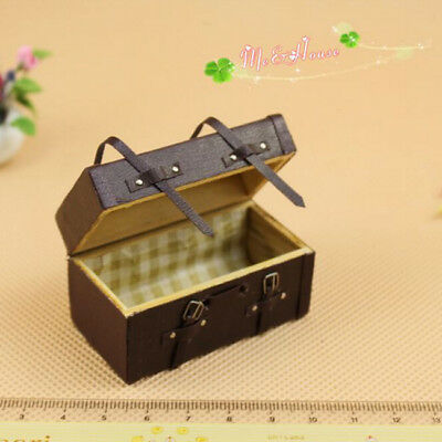 Dollhouse Miniature Vintage Faux Leather Wood Carrying Suitcase Luggage Box S