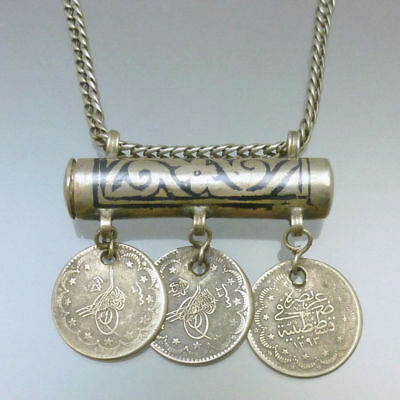 Antique Ottoman Silver Niello Prayer Holder Amulet Islamic Coin Pendant Necklace