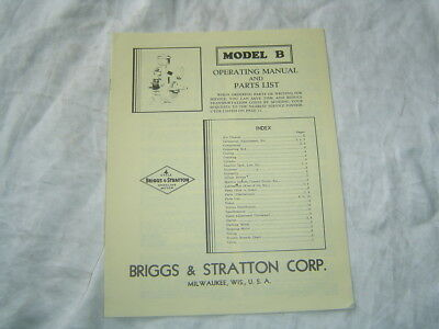 Briggs & Stratton B engine operator's instruction manual parts catalog