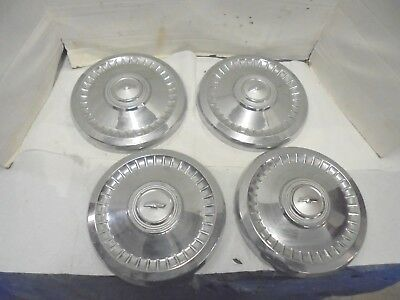 "4 vintage metal chevrolet hubcaps dog dish 9-1/2"" diameter truck automobile"