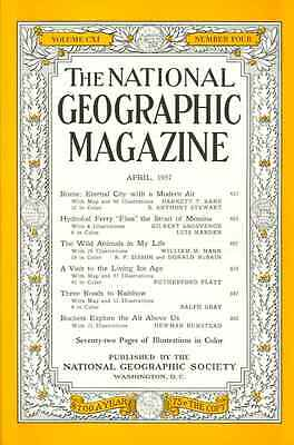 Apr 1957  National Geographic  ROCKETS HYDROFOIL ROME  ZOOS ICE AGE