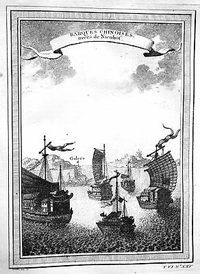 ca. 1750 China Schiff Boote boats ships barques view Kupferstich antique print