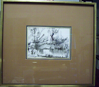 Seascape Marsh Scene Pen Ink And Watercolor Wash Painting Original Artist Signed