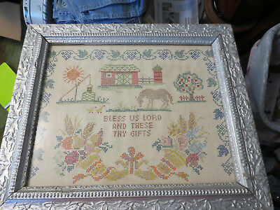 Vintage Framed Cross Stitch Embroidered Sampler Bless Us Lord And These Gifts
