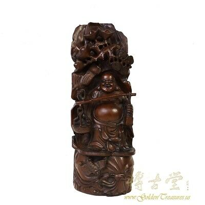 Antique Chinese wooden Carved Happy Buddha Statuary
