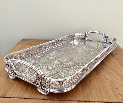 Rare Antique Art Nouveau Footed Repousse Silver Plated Gallery Tray C1900